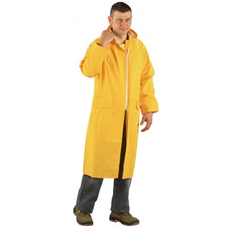 manteau de pluie PVC jaune longueur 120 cm